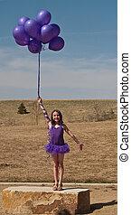 bonito, menina, balões