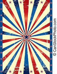 Tricolor US grunge paper - A poster with tricolor sunbeams