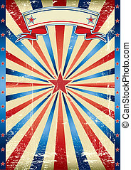 US tricolor vintage poster - A poster with tricolor sunbeams...