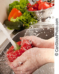 Splashing vegetables - Vegetables washing, splashing water,...