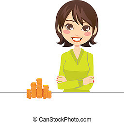 Woman With Gold Coins - Woman smiling with arms crossed...