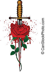 rose and dagger - Vector illustration rose and dagger