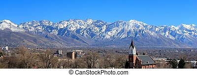Wasatch Mountains Landscape - A landscape panorama of the...