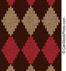 Style Seamless Knitwear Pattern - Style Seamless Red Brown...