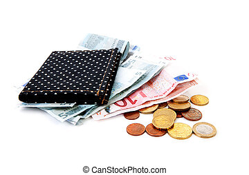 black wallet with euro money