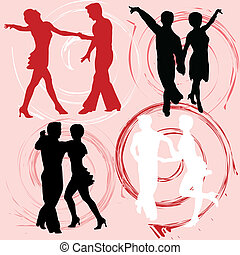 Set of vector silhouettes dancing mans and womans -...