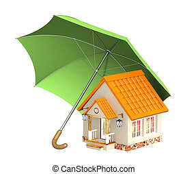 Home insurance - Concept - home insurance. Objects isolated...