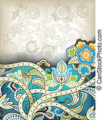 Turquoise Floral - Illustration of abstract floral...