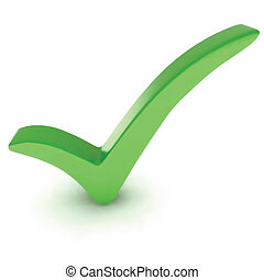 Green check mark. Vector isolated