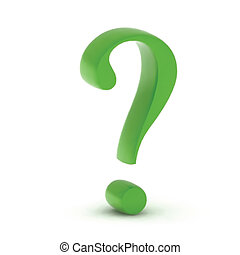 Green question mark isolated on white. Vector illustration