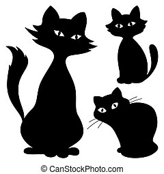 Cats, silhouette, set