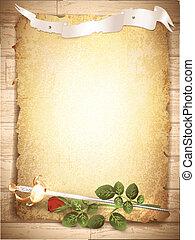 rose and sword at burnt paper - vintage grunge burnt paper...