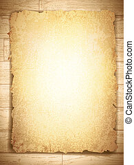 vintage grunge burnt paper at wooden background, copyspace