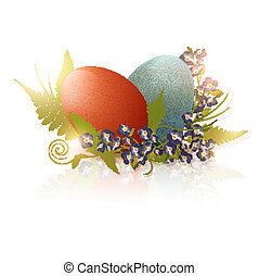 Easter eggs and forget me not flowers over white