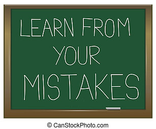 Learn from your mistakes. - Illustration depicting a green...