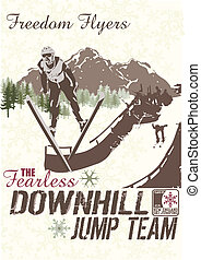 jump hill - illustration for poster and shirt printed