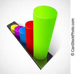 Business graphs - 3d business colorful graphs Vector...