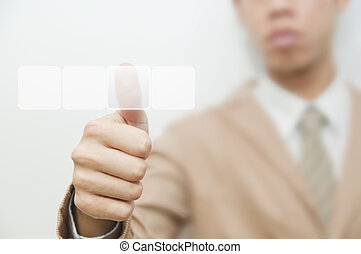 Business man pressing touch screen button