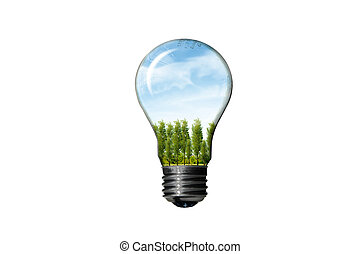 Bulb with green landscape isolated on white background ,...