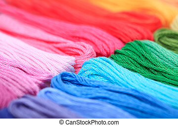 rainbow floss - Close up embroidery floss, rainbow colours