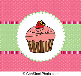 cup cake - cute cup cake over greeting card. vector...