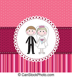 marriage invitation over pink cute background vector