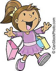 Happy Cute Shopping Girl Vector Illustration