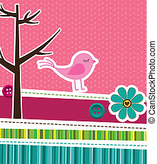 cute background - pink cute background with frame. vector...