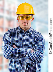 worker on the blurred background of a department