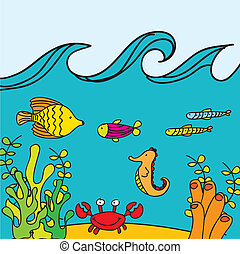 cute reef vector - cute reef with marine animals, hand...