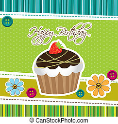 cute cup cake - cup cake over green cute background. vector...