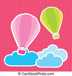 airballoons - cute airballoons over clouds, background...