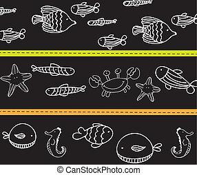 marine animals - cute marine animals, black and white vector...