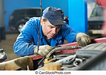 car mechanic diagnosing auto engine problem - motor mechanic...