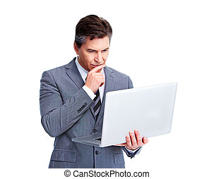 Executive businessman with laptop. - Executive businessman...