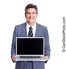 homem negócios, executivo,  laptop