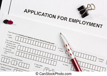 Application for Employment - Directly above photograph of a...