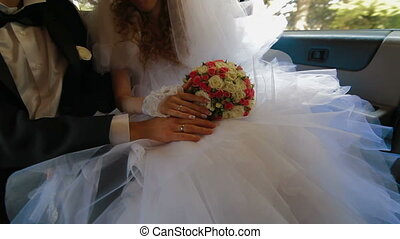 Just Married Young Couple Inside Limo, Wide shot