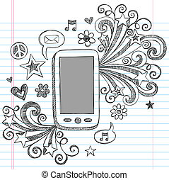 Cell Phone PDA Doodle Vector Design - Cell Phone Mobile PDA...