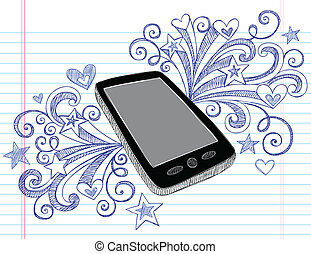Cell Phone PDA Doodle Vector Design - Mobile Cell Phone PDA...