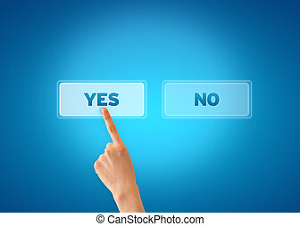Yes and No - Hand pointing at an yes icon on blue background...