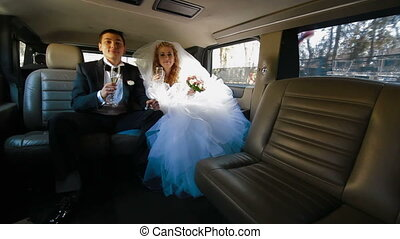 Couple Inside Limo - Just Married Young Couple Inside Limo,...