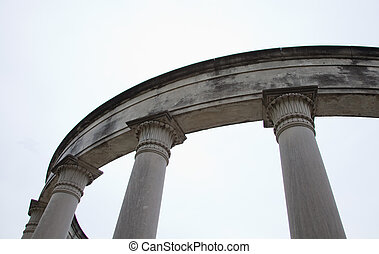 Marble columns and plinth - Cropped image of a circular...