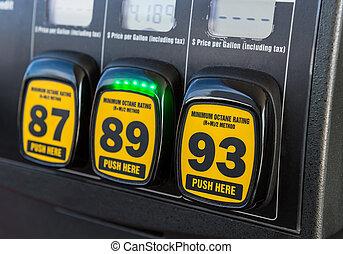 Gas pump octane selector - Close up detail of octane rating...