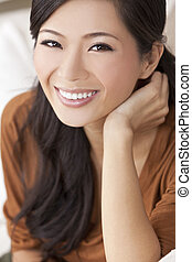 Beautiful Happy Young Asian Chinese Woman or Girl - Close up...
