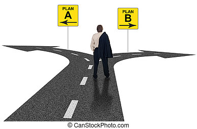 Business choices for difficult situations - Cross roads with...