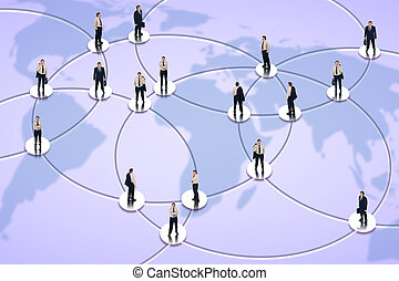 Social networking and global business concept with...