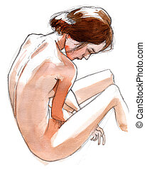 Naked girl seen from behind, nude art, hand drawn with...