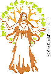 Panacea - ancient Greek goddess.  Vector illustration.