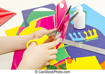 Colored paper and scissors - Colored paper, glue, scissors...